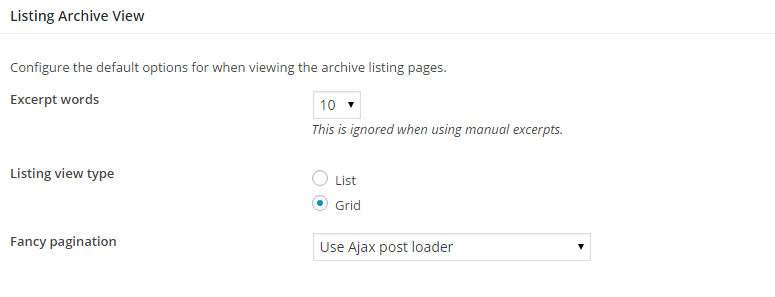 Listing Archive View