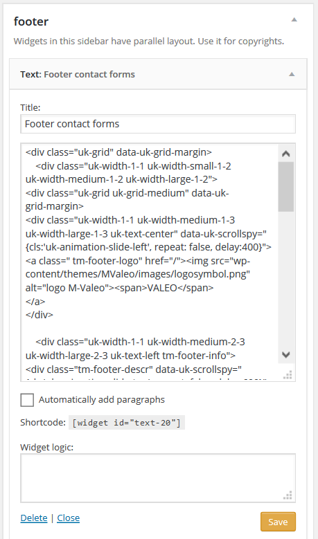 Mvaleo Footer text widget settings .png