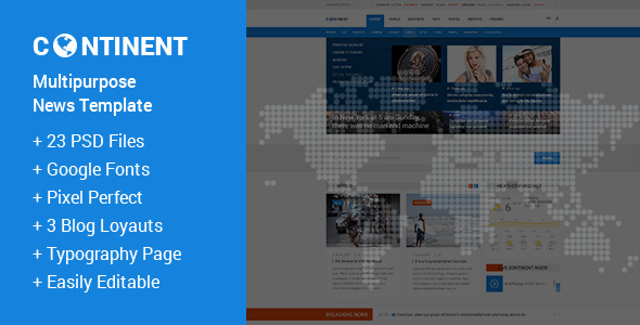 Continent — Multipurpose News PSD Template