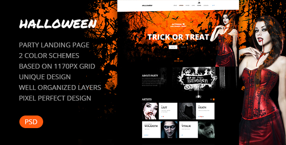 Halloween — Party Landing Page PSD Template